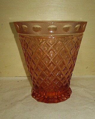 Antique Cut Crystal Art Glass Vase American ? Europen ? Pink or Coral in Color