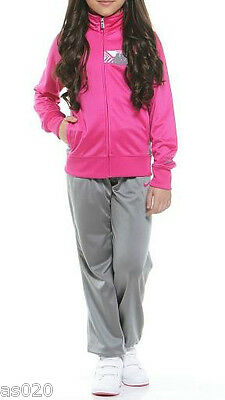 NEW Nike Girls Junior Youth Logo Tracksuit - Jacket Top & Bottoms - Pink & Grey