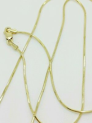 """10k Solid Yellow Gold High Polish Snake Necklace Chain 18"""" .9mm"""