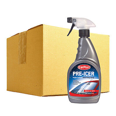 12 x Carplan Pre Icer Night Before Car Windscreen De Icer Anti Icing Spray 500ml
