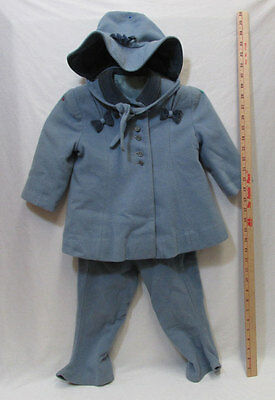 Vintage 1940s Girls Childs Winter Coat Overalls Pants & Hat Blue Wool Bambury