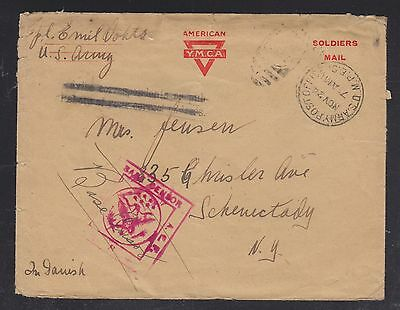 Usa 1918 Ymca Aef Censored Soldiers' Cover Apo To New York
