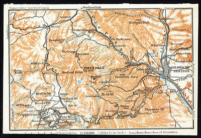 Antique Map-COLORADO-PIKE`S PEAK-USA-Karl Baedeker-Wagner & Debes-1909