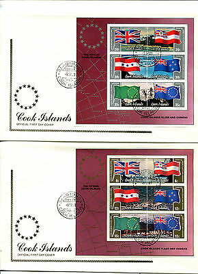 Cook Islands 1983 Flags and Ensigns MS on 2 FDC