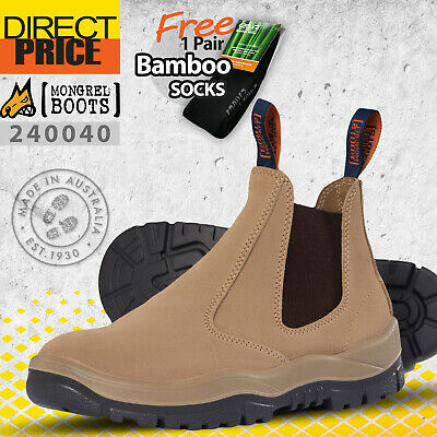 Mongrel Boots Work Safety Steel Toe 240040 Elastic Sided Slide Pull On Wheat New