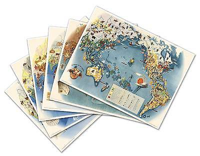 SET of SIX Pageant of the Pacific Art MAP Prints Miguel COVARRUBIAS circa 1940