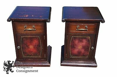 Mid Century Mahogany Nightstands Chest Cello Front Leather Accents Side Tables