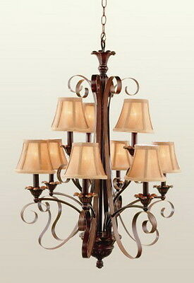 Antique Brown 9 Light 2 Tier Chandelier With Shades