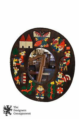 Vintage Arts + Crafts Colorful Kids Baby Room Hanging Mirror Animals Birds 19""