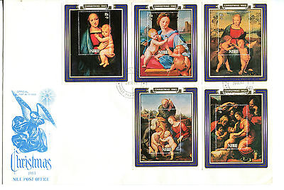 Niue 1983 Christmas Children's Charity Set of 5 MS  FDC