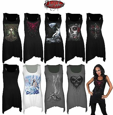 SPIRAL DIRECT NEW GothBotm Vest Dress/Rock/Metal/Roses/Angel/Gift/Cross/Goth/Top