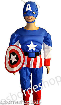 Superhero Captain America  Muscle Padded Kids Child Fancy Party Boys Costumes