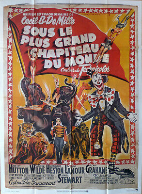 THE GREATEST SHOW ON EARTH - CIRCUS - B DeMILLE - REISSUE LARGE MOVIE POSTER