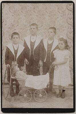 Vintage 1890s CC boys and girls w/stroller and doll