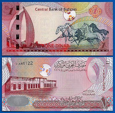 Bahrain P-26 One Dinar Year ND 2008 Horses Unciruclated FREE SHIPPING