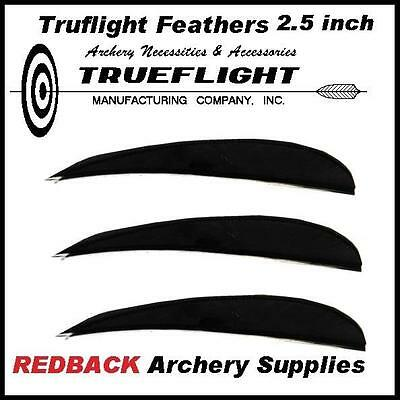 Truflight 2.5 inch BLACK feathers  25 pack for archery arrows and hunting