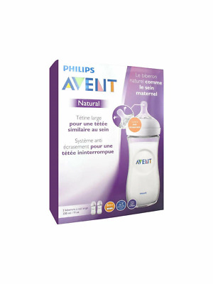 Avent - Natural Feeding Bottle 6 Month Teats CLEAR 330ML 2 PACK Baby Milk Drink