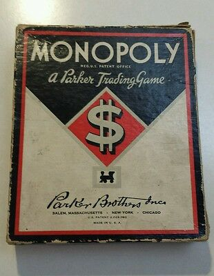SALE!! Vintage 1935 Monopoly Game Wooden Pieces Cards Money Parker Brothers 30's
