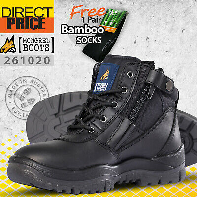 Mongrel Work Boots Steel Toe Safety Zip Sider Press Stud. Black Lace Up 261020