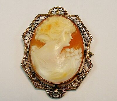 Antique ~ Art Deco Silver Master Carved Shell Cameo Brooch Pin