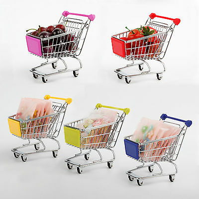 Mini Shopping Cart Supermarket Handcart Utility Mode Storage Trolley Toy Office