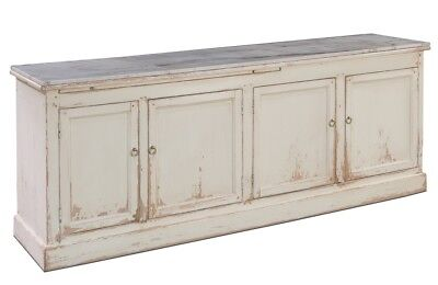 """87"""" Long Iole Sideboard Cabinet Recycled Solid Pine Wood  White Marble Handmade"""