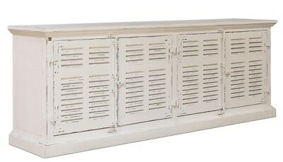 """91"""" Long Crispina Sideboard Cabinet Beach Louvered Wood  Frozen White Handmade 0"""