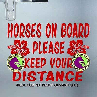 HIBISCUS HORSE TRAILER Vinyl Decal Sticker Caution Tailgaiting Back Door Sign RD
