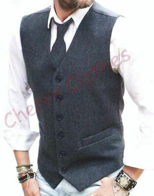 Mens Wool Donegal Tweed Blend Blue Fleck Waistcoat Vest -  S M L Xl Xxl 3Xl 4Xl