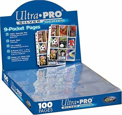 Trading Card A4 Sleeves - 10 Ultra Pro 9 Pocket Silver Pages MTGPokemon.