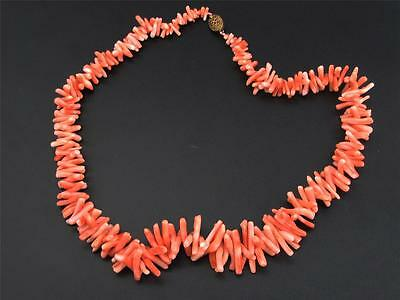 Beautiful Antique Hand Carved Chinese Natural Red Coral Necklace, Excellent Cond