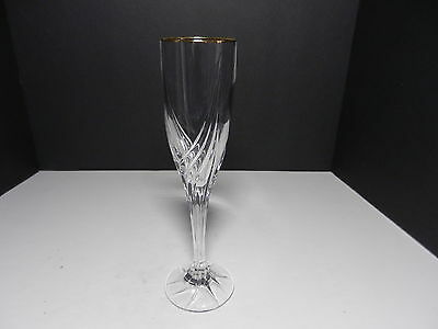 """Lenox Crystal Debut Gold Champagne Flute Clear Gold Trim 9"""" T ca 1994-2015"""