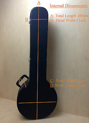 Heavy Duty Flat top Banjo Hard Case Full length Hardshell Black Lockable