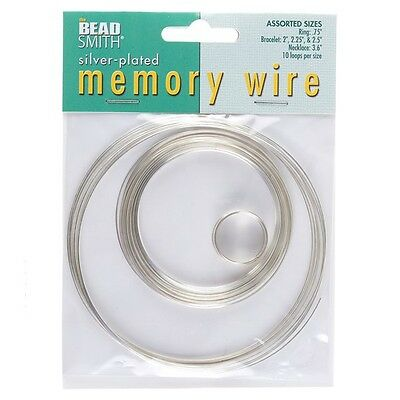 Beadsmith Memory Wire Silver Plated 10 Loops 5 Sizes (E41/1)