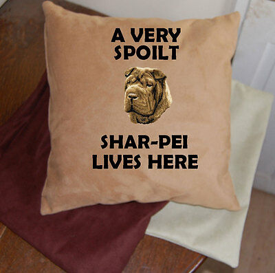 Shar Pei embroidered dog cushion faux suedette