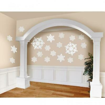 Christmas Snowflake Glitter Cut-Out Decorations Mega Value Pack of 20
