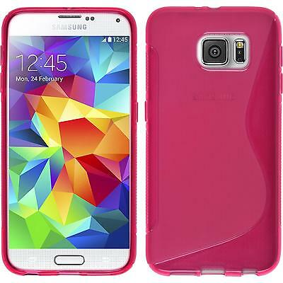 Silicone Case for Samsung Galaxy S6 S-Style hot pink + protective foils