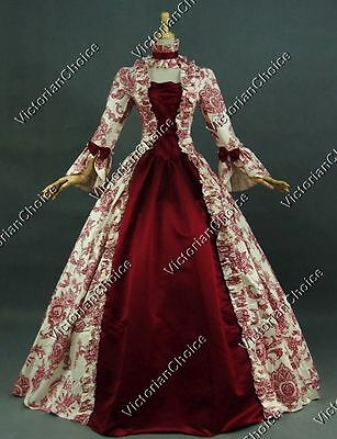 Renaissance Colonial Antique Floral Dress Gown Theater Reenactment Clothing 138