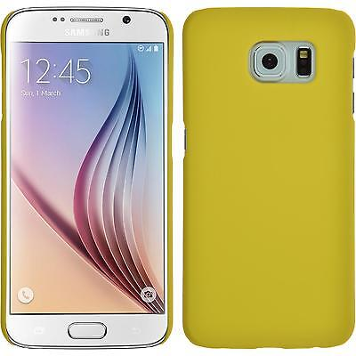 Hardcase for Samsung Galaxy S6 rubberized yellow Cover + protective foils