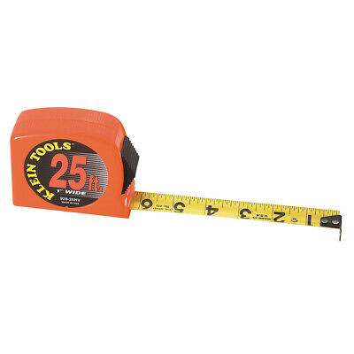 """Klein Tools 928-25HV 25' by 1"""" High-Visibility Case Power-Return Tape Measure"""
