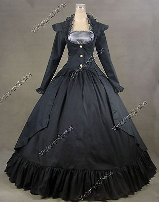 Victorian Black Dress Steampunk Witch Ghost Reenactment Halloween Costume 167
