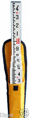 New 16 Foot Fiberglass Grade Rod with Tenths Scale & Carrying Case