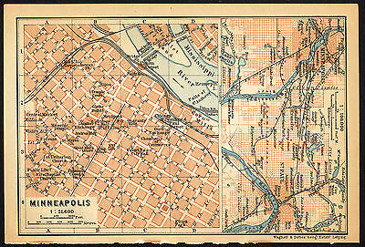 Antique Map-MINNEAPOLIS-USA-Karl Baedeker-Wagner & Debes-1909