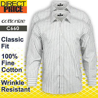 Mens Shirts Fine Cotton Casual Formal Business Office Stripe Uniform Green Blue