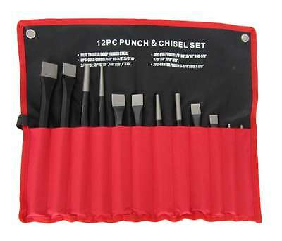 12pc Punch and Chisel Set Cold Centre Taper Pin Punches in Tool Roll - HILKA