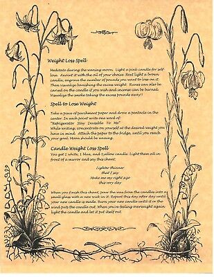 Book of Shadows Spell Pages ** Wiccan Weight Loss Spells ** Wicca Witchcraft BOS