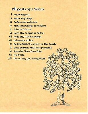 BOOK OF SHADOWS Spell Pages ** 13 Goals of a Witch ** Wicca Witchcraft BOS