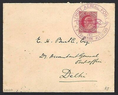 India 1911 Allahabad to Naini First Flight cover FFC