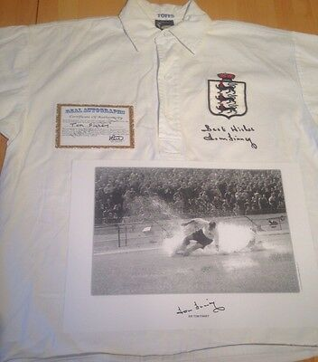 1966 England Shirt And Photo Signed By Tom Finney With COA + Guarantee