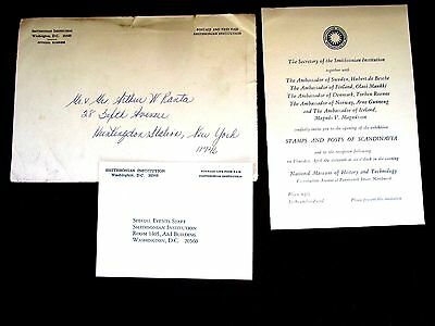 Scandanavia, Invitation to Opening of Stamps & Post@ Natl.Museum Wash DC,orig